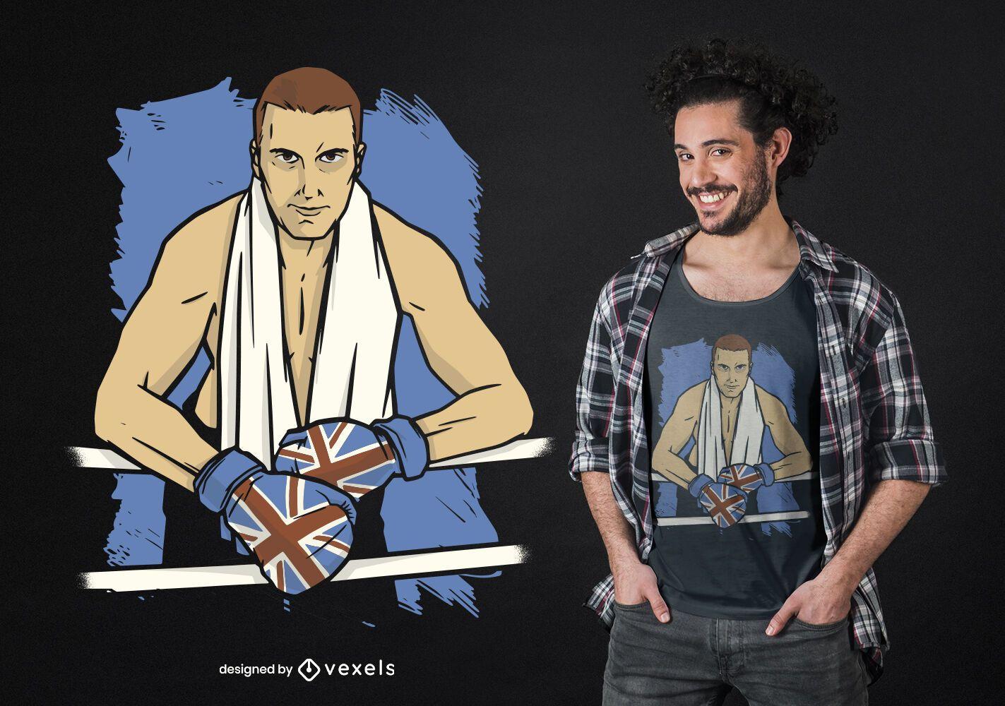 Diseño de camiseta de boxeador británico