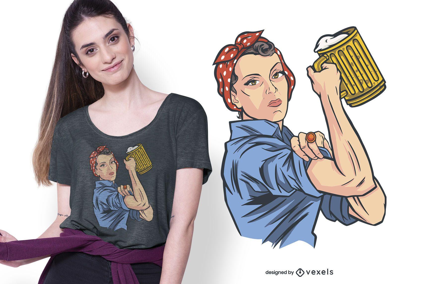 Design de camiseta feminina para cerveja