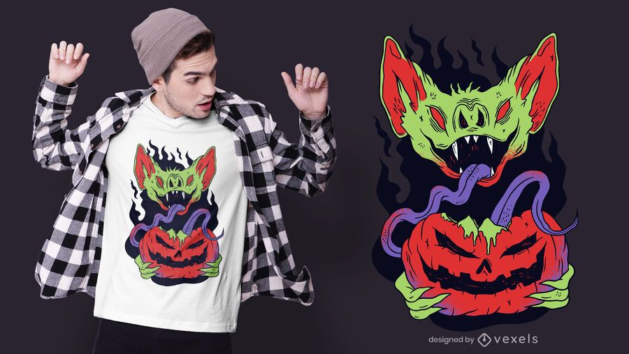 Diseño de camiseta de calabaza de vampiro de Halloween