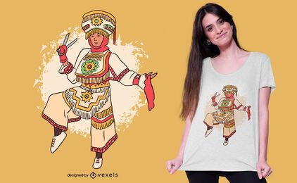 Design de camiseta peruana dançarina de tesoura
