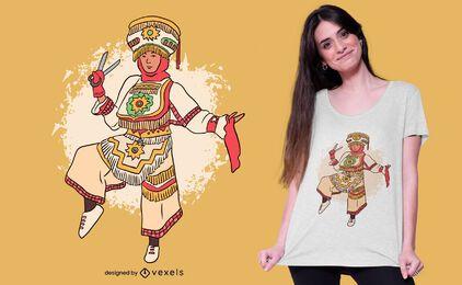 Diseño de camiseta de bailarina de tijera peruana.