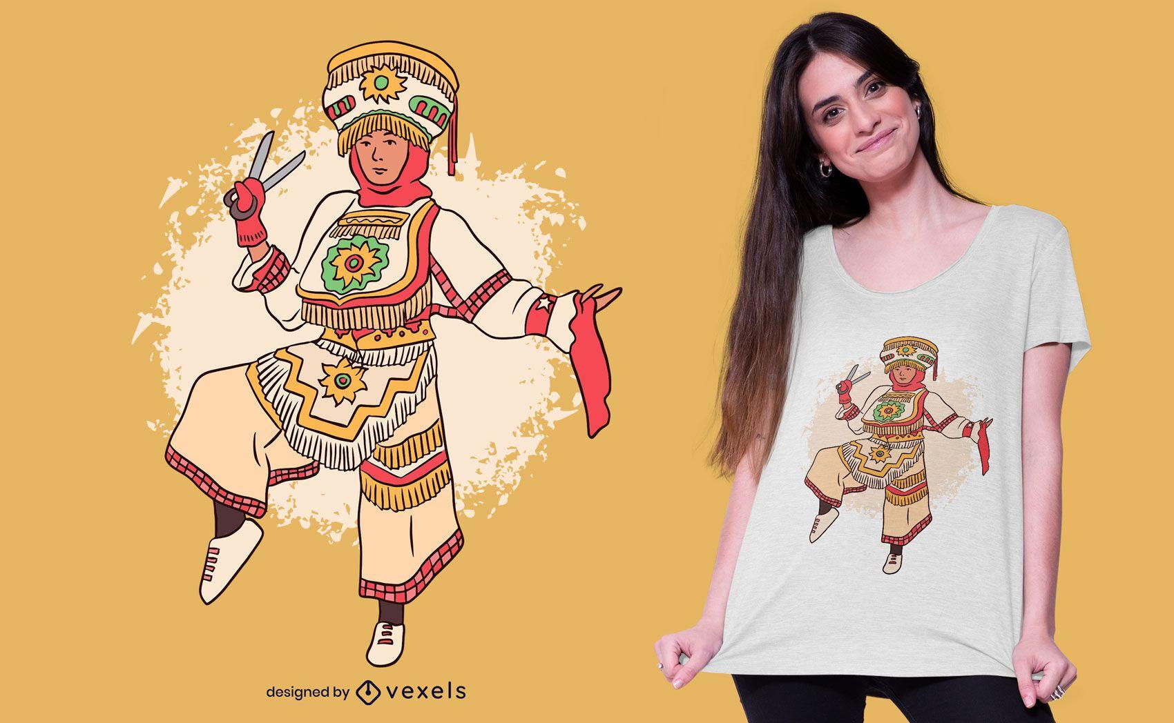 Dise?o de camiseta de bailarina de tijera peruana.
