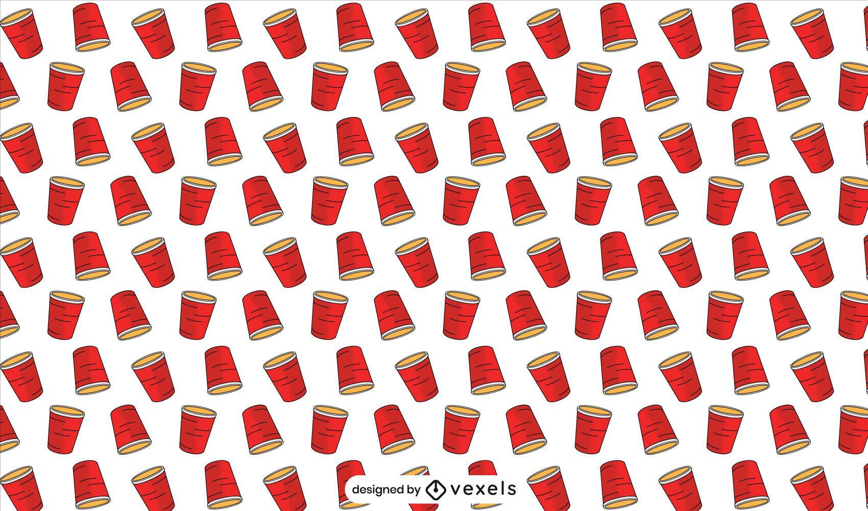 Diseño de patrón de tazas rojas