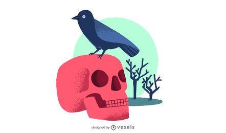 Diseño de ilustración de cráneo y cuervo