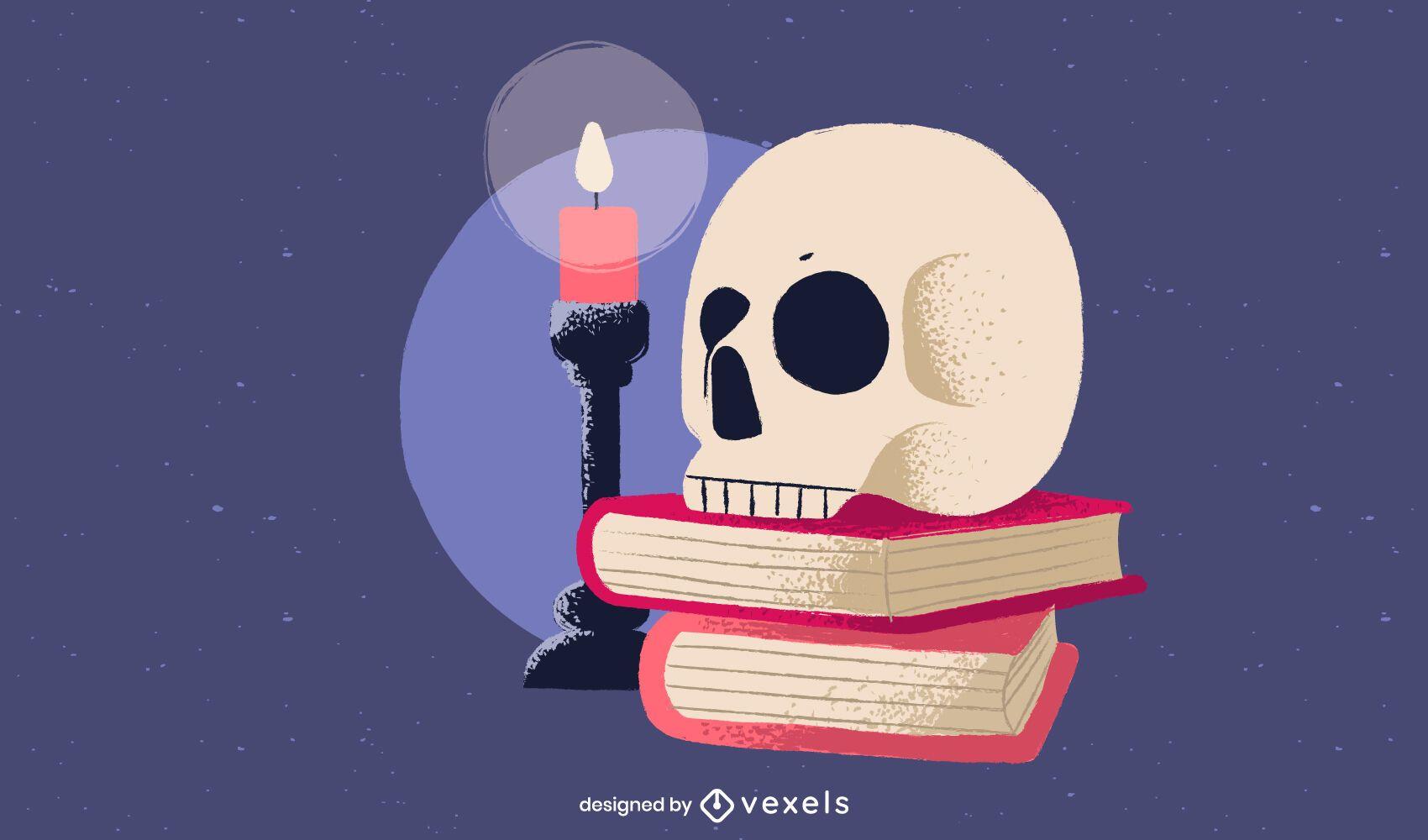 Crânio com desenho de ilustração de livros