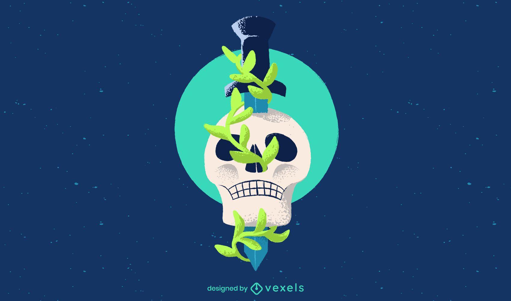 Skull dagger illustration design