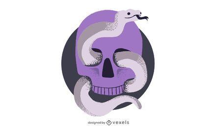 Desenho de ilustração de crânio e cobra