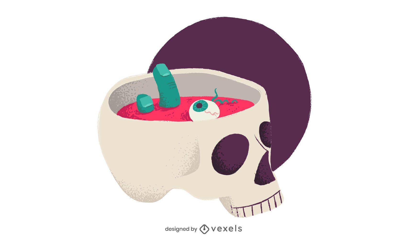 Skull bowl illustration design
