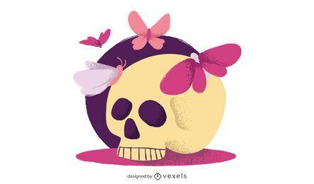 Diseño de dibujo simple de cráneo plano