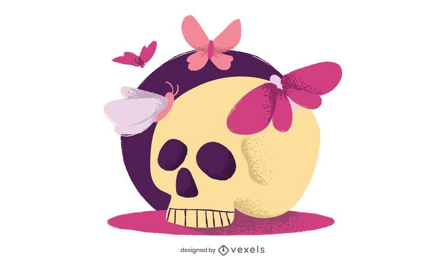 Flat Skull Simple Drawing Design
