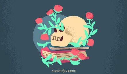 Flowery Skull Flat Design