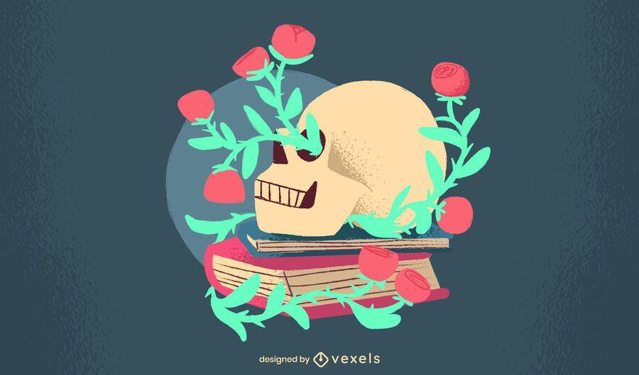 Design plano florido do crânio