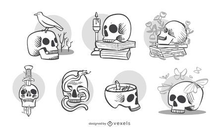Decorative skulls set design