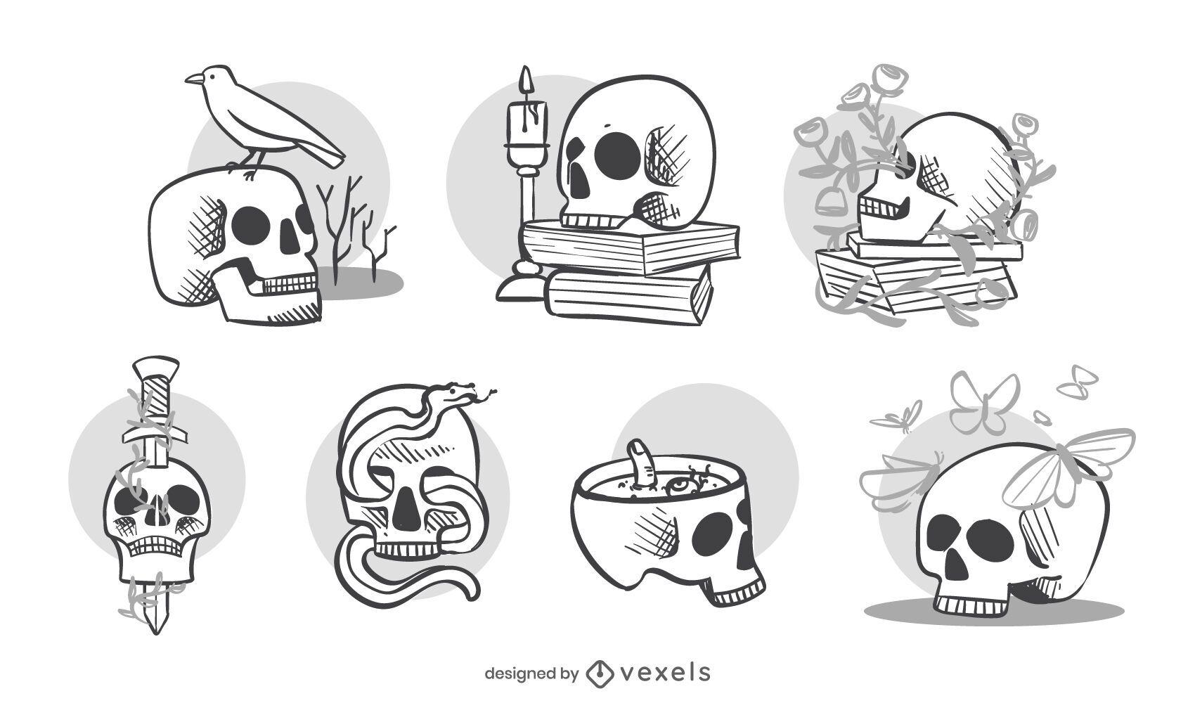Decorative skulls set design