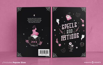 Design da capa do livro de feitiços e poções