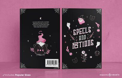 Diseño de portada de libro de hechizos y pociones.