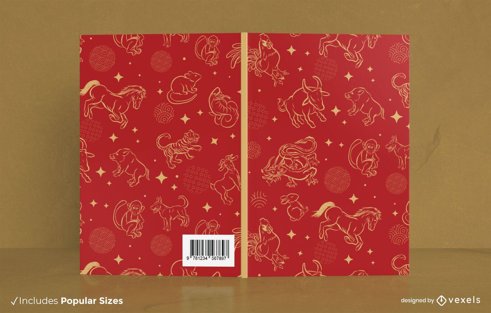 Diseño de portada de libro de animales del zodiaco chino