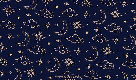 Desenho de padrão chinês noturno