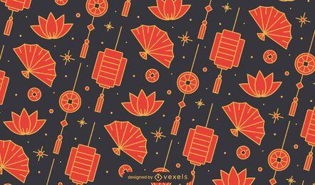 Desenho de padrão de leque chinês