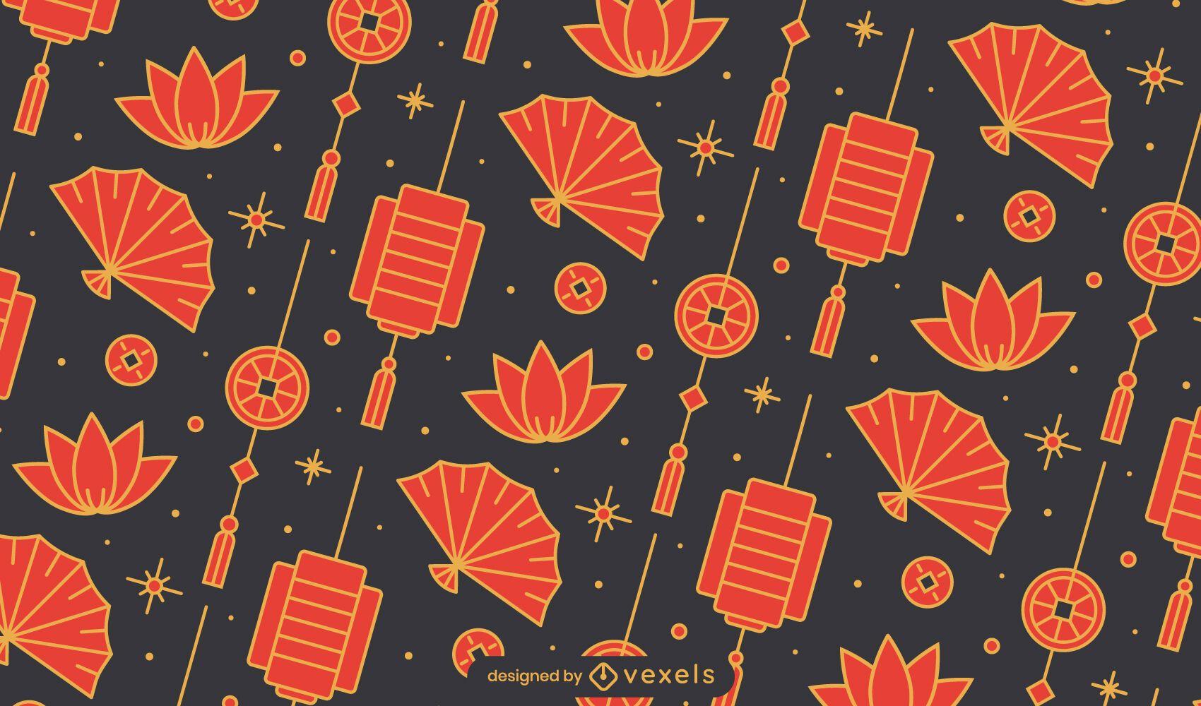 Diseño de patrón de abanico chino