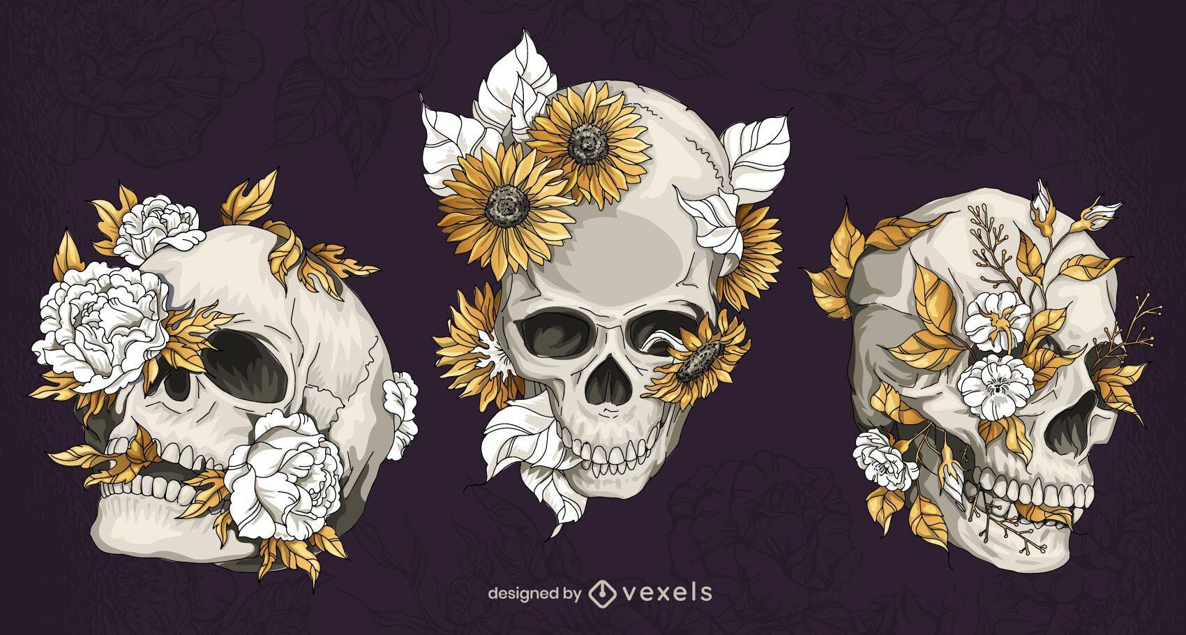 Conjunto dibujado a mano de calaveras florales