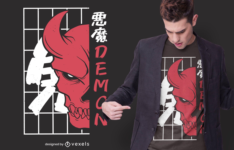 Diseño de camiseta de calavera oni