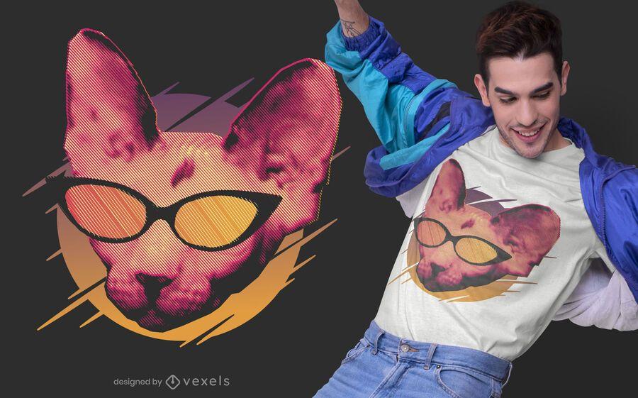 Gato festeiro com design de camiseta de óculos de sol