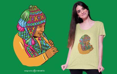 Peruanischer Musiker T-Shirt Design