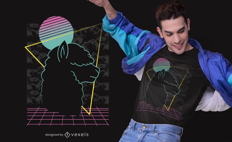 Diseño de camiseta de vaporwave alpaca