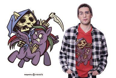 Diseño de camiseta death apocalypse horsecat