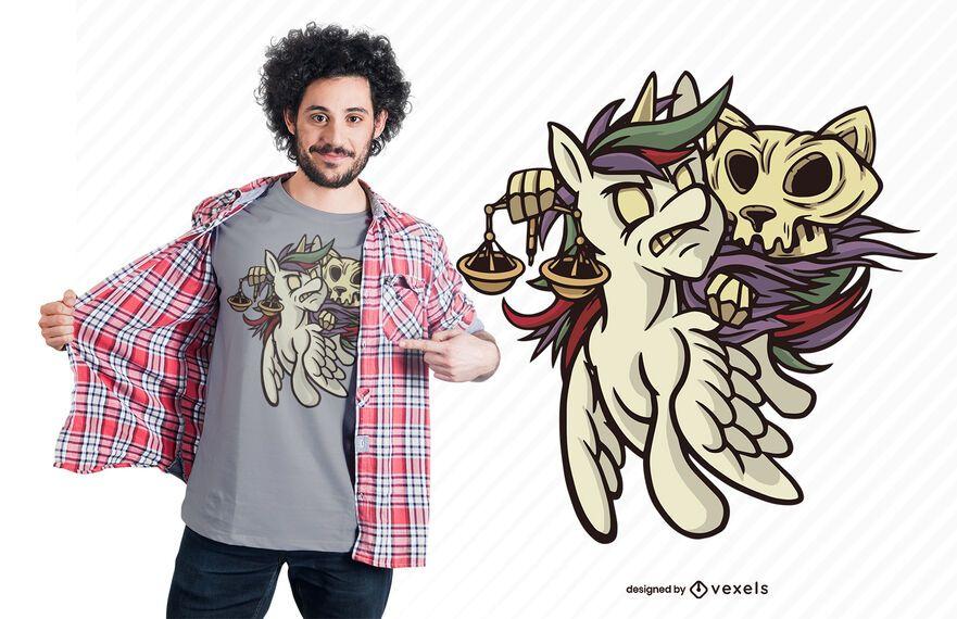 Design de t-shirt de gato de cavalo para o apocalipse da fome
