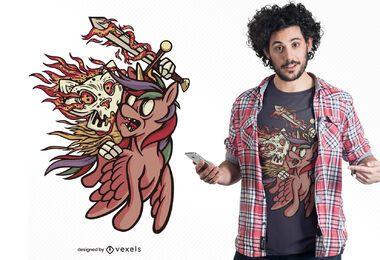 Design de t-shirt gato de cavalo para o apocalipse da guerra