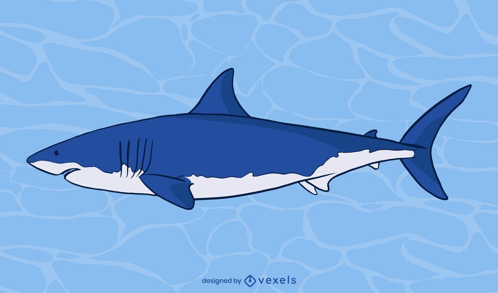 Diseño de ilustración de lado de gran tiburón blanco
