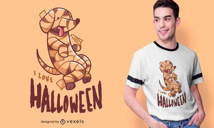 Diseño de camiseta de perro momia de Halloween