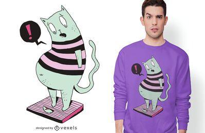 Diseño de camiseta de gato gordo