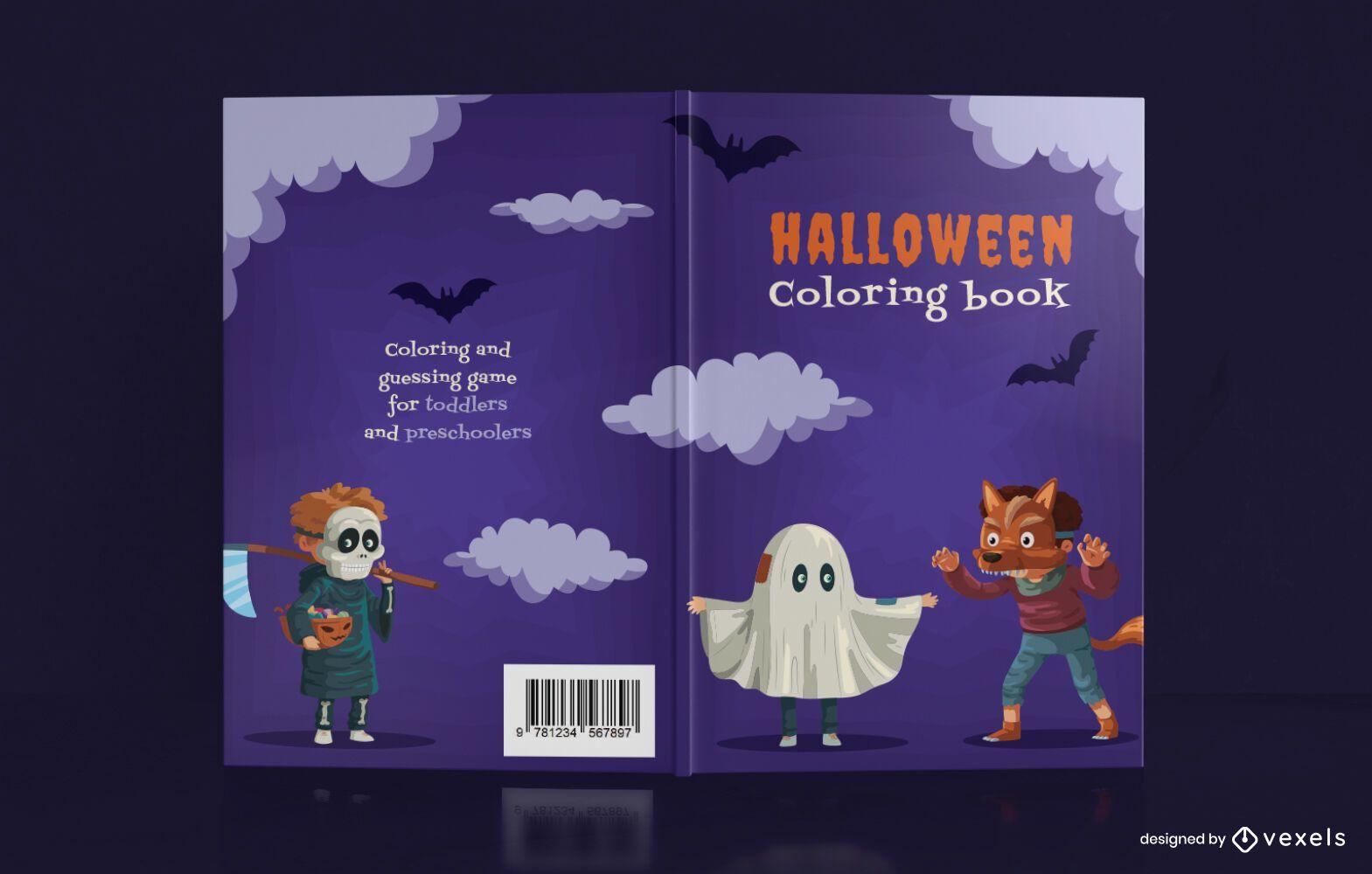 Diseño de portada de libro para colorear de Halloween