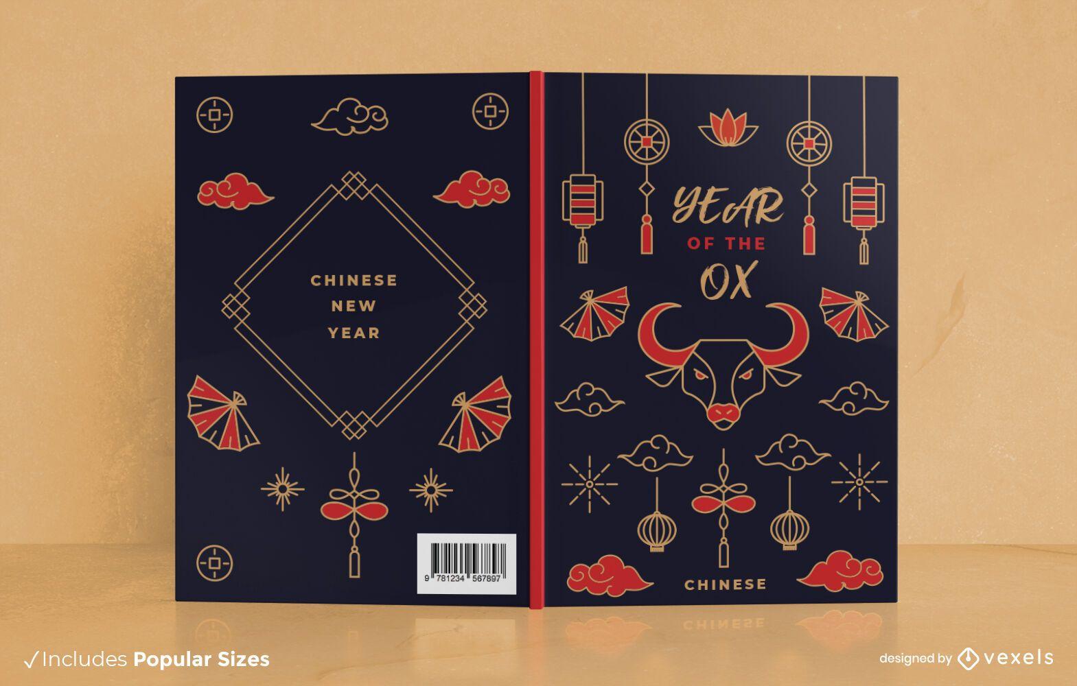 Diseño de portada de libro de año nuevo chino