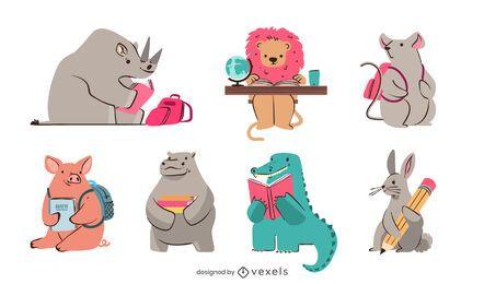 Pacote de design de estudo de animais fofos