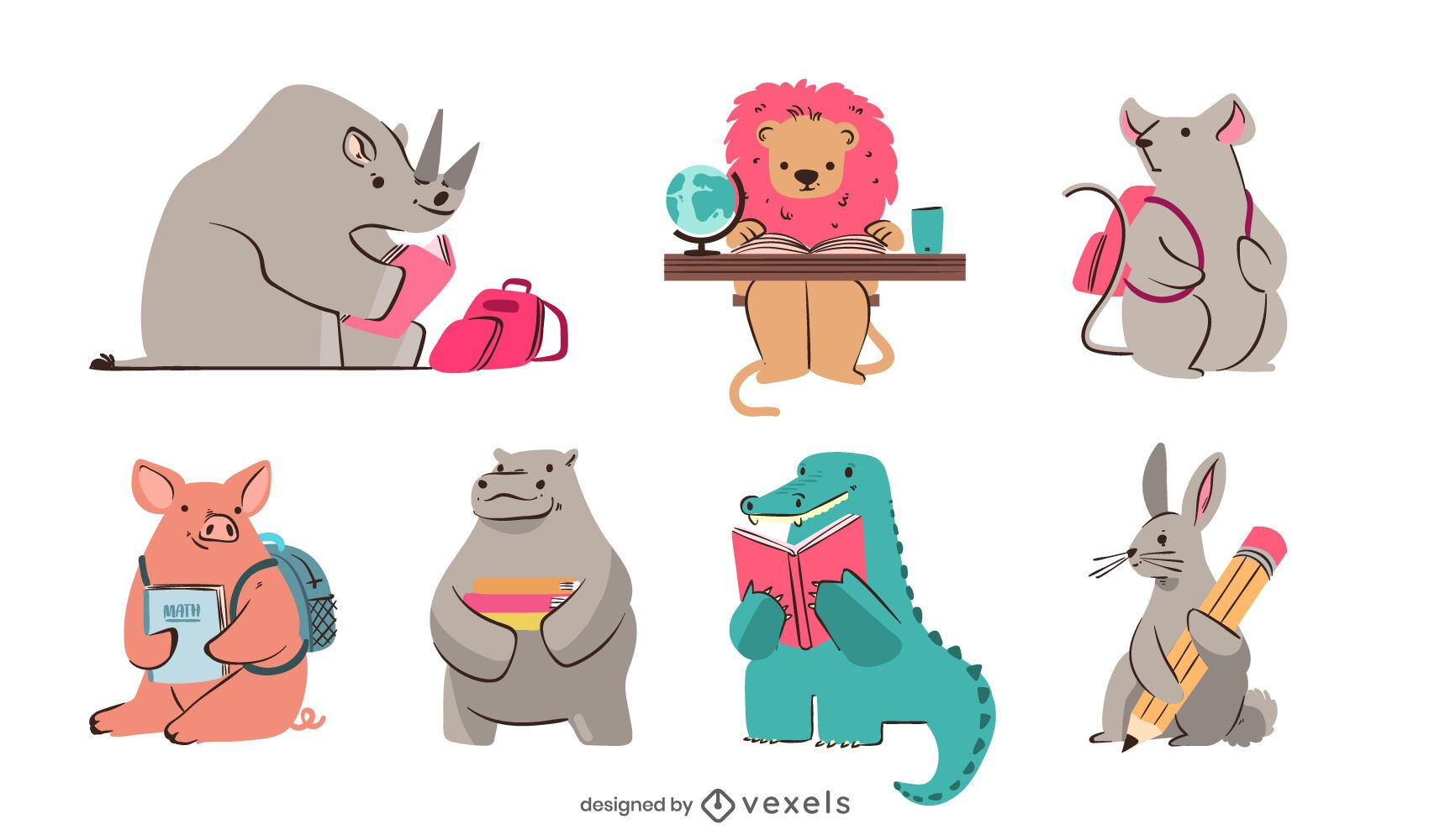 Cute Animals Studying Design Pack