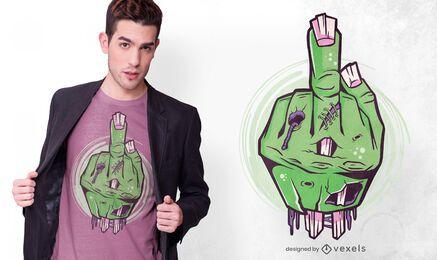 Mão de zumbi exibindo design de camiseta