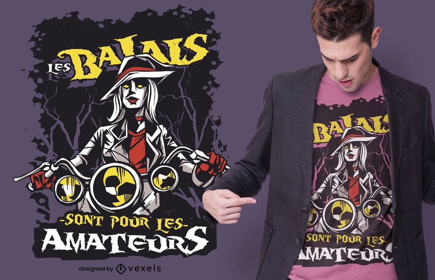 Desenho de camiseta com citação francesa de bruxa