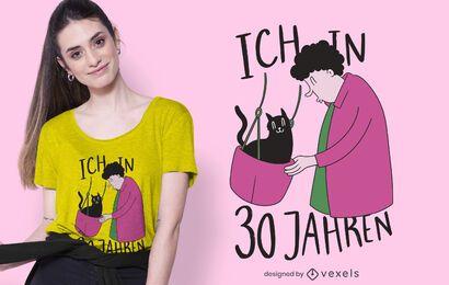 Design de camiseta de senhora de gato velho
