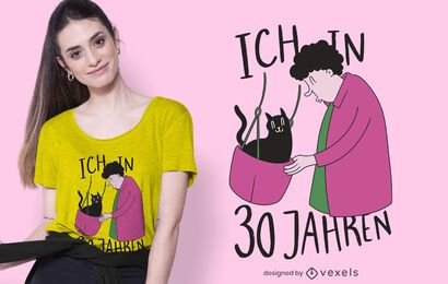 T-Shirt-Design der alten Katzendame