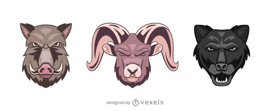 Conjunto de ilustração do logotipo da pantera de carneiro de javali