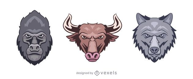 Gorilla Bull Wolf Logo Illustration Set