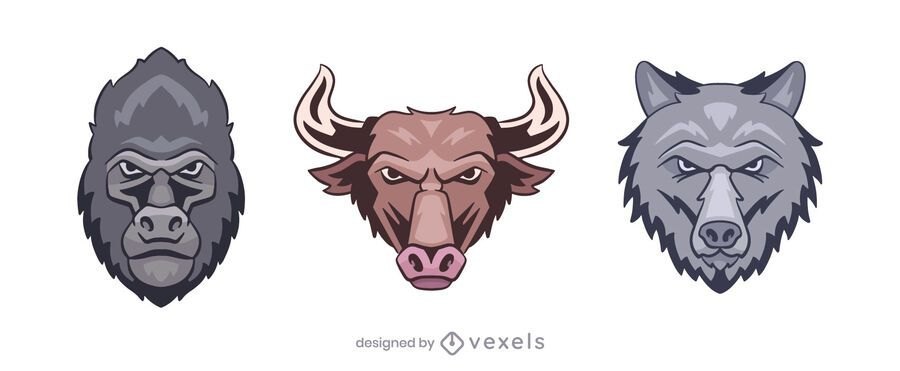 Gorilla bull wolf logo illustration set