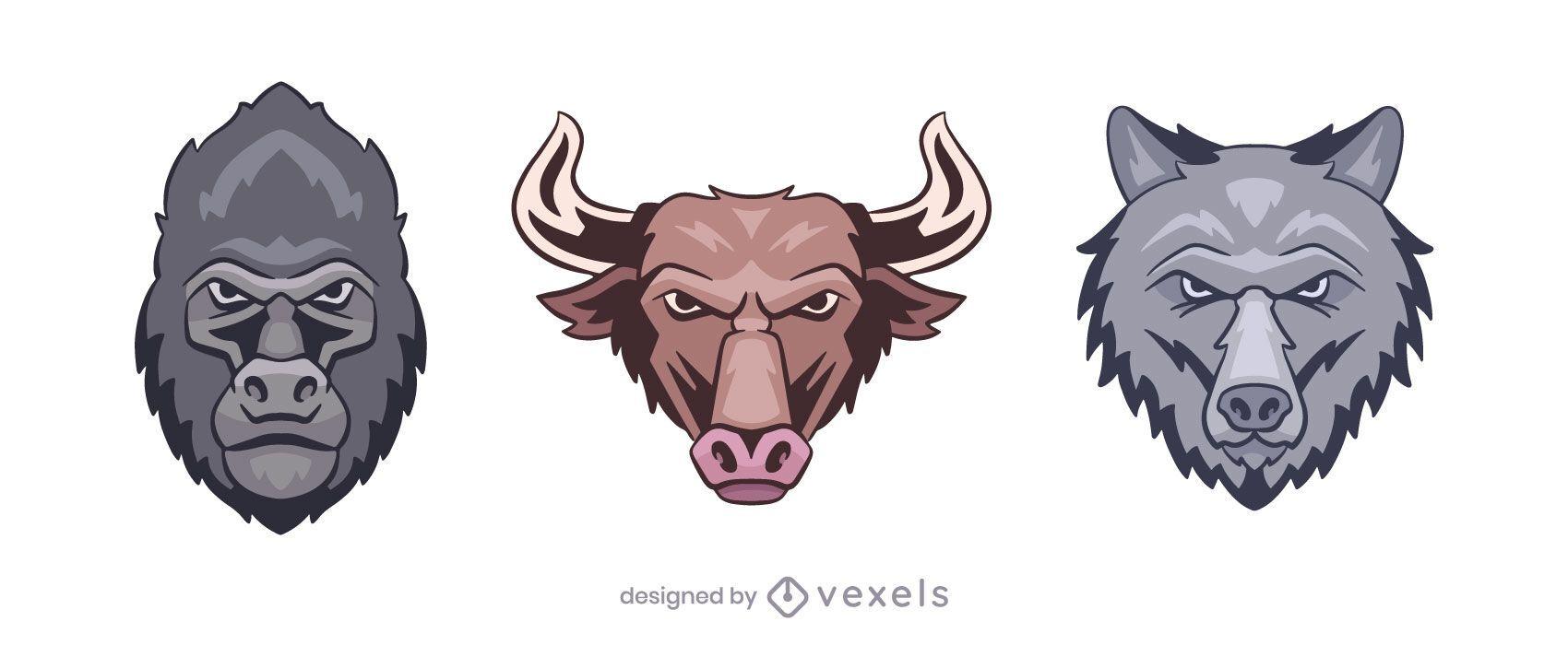 Conjunto de ilustración de logo de gorila toro lobo