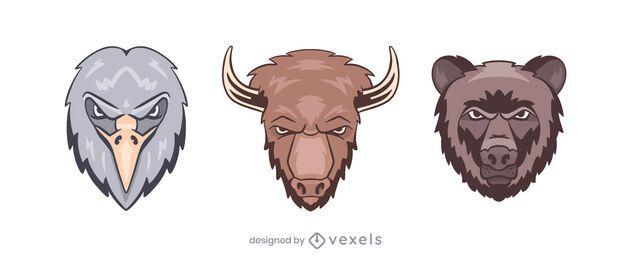 Conjunto de ilustração do logotipo do urso bisonte águia