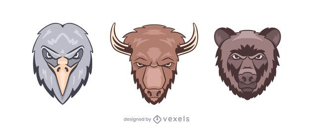 Eagle bison bear logo illustration set