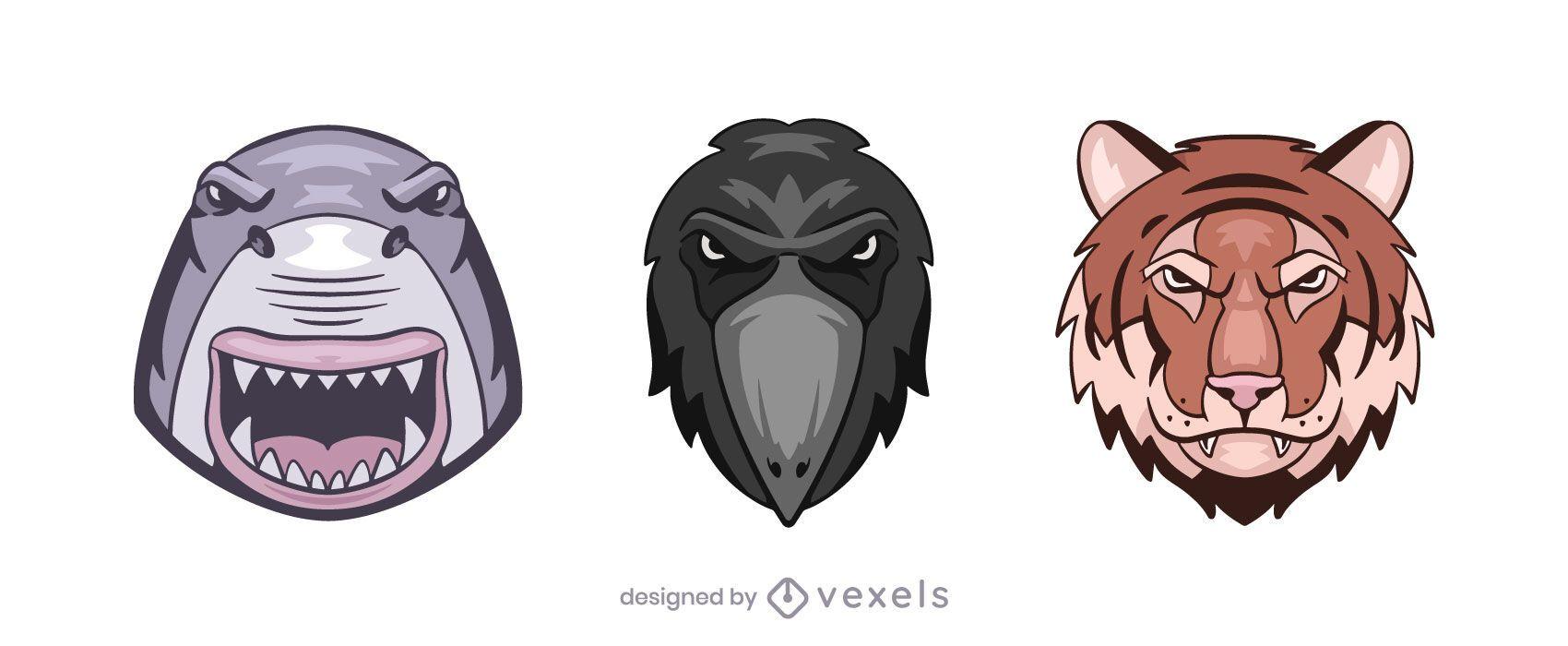 Conjunto de ilustración de logo de tigre cuervo de tiburón